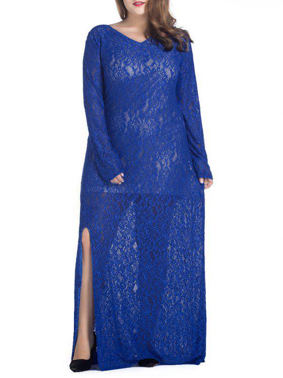 فستان الحجم الكبير دانتيل جانب الانقسام - أزرق XL