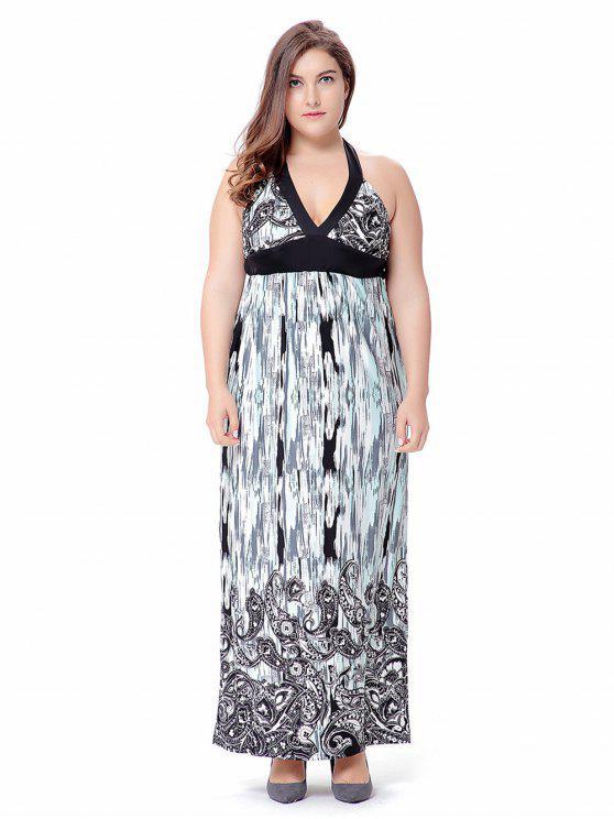 Plus Size Empire Waist Paisley Halter Beach Maxi Dress
