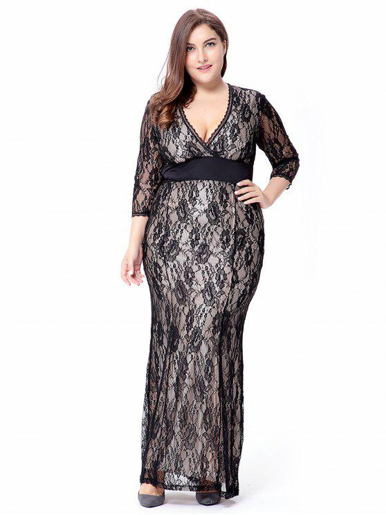 2018 Empire Waist Plus Size Lace Bodycon Dress With Sleeves In Black