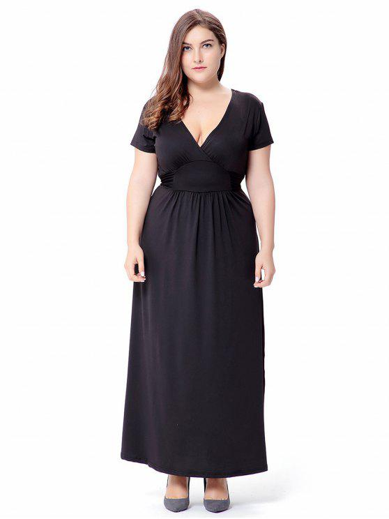Empire Waist Short Sleeve Plus Size Maxi Formal Dress Black Plus