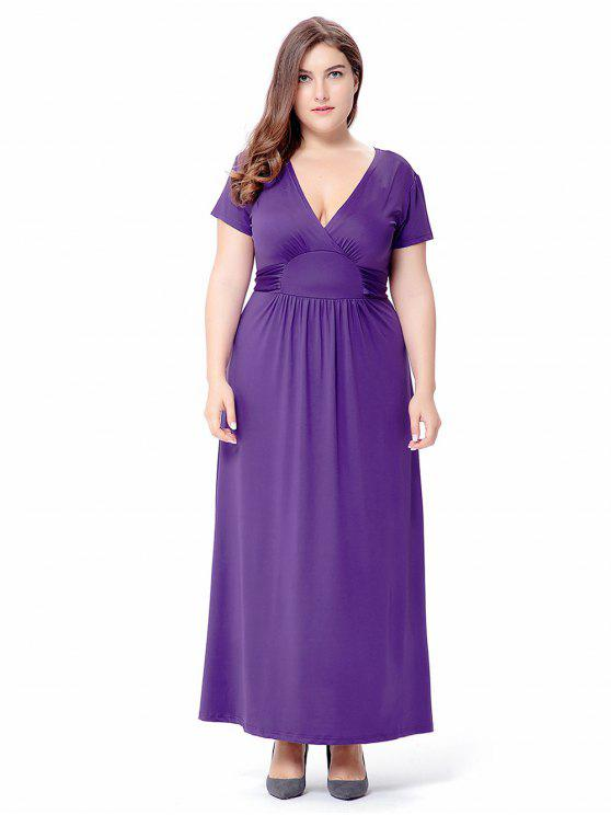 2018 Empire Waist Short Sleeve Plus Size Maxi Formal Dress In Purple