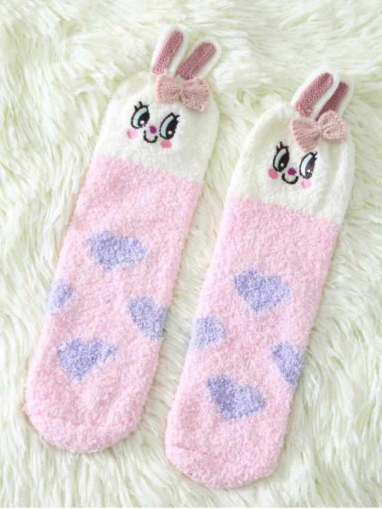 trendy Cartoon Pink Bunny Coral Fleece Socks - PINK