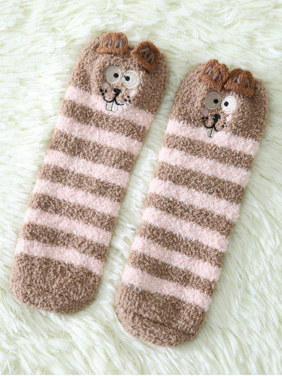 fashion Cartoon Teeth Rat Coral Fleece Socks - DARK KHAKI