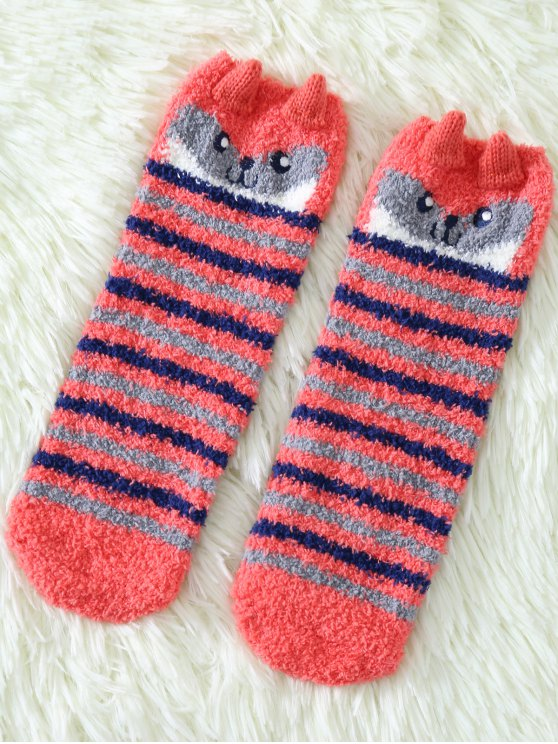 chic Cartoon Owl Coral Fleece Socks - RED
