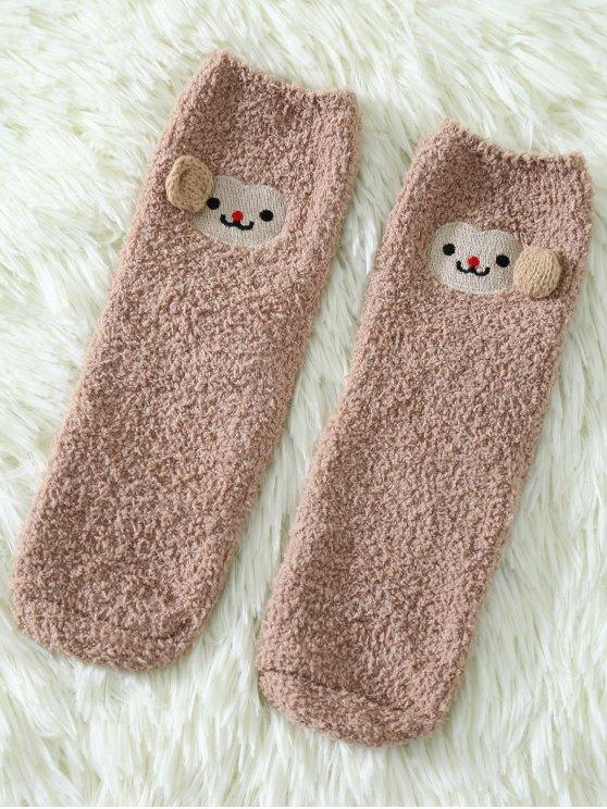 fancy Cartoon Monkey Coral Fleece Socks - KHAKI