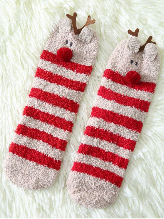 Cartoon Deer Coral Fleece Socken - Rot
