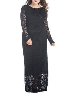 Plus Size Floral Lace Maxi Dress - Black Xl