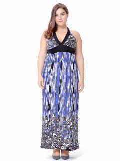 Plus Size Empire Waist Paisley Halter Beach Maxi Dress - Blue 2xl