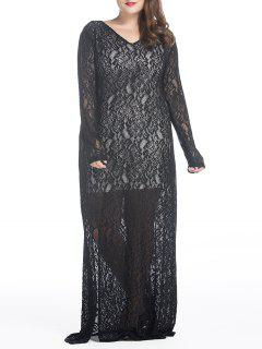 Plus Size Maxi Lace Long Sleeve Sheer Dress - Black 2xl