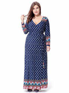 Maxi Plus Size Long Sleeve Tribal Wrap Dress - Blue Xl