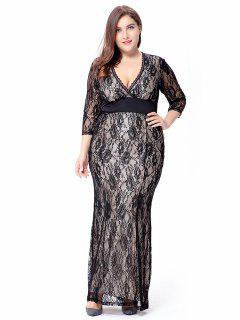 Empire Waist Plus Size Lace Bodycon Dress With SLeeves - Black Xl