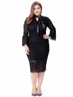 Plus Size Flare Sleeve Lace Dress - Black 2xl