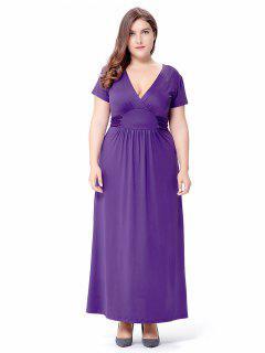 Empire Waist Short Sleeve Plus Size Maxi Formal Dress - Purple 2xl