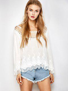 Hollow Out Scalloped Cover Up - White