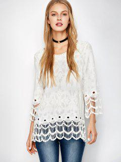 Jacquard Crocheted Lace Cover Up - White