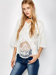Hollow Out Scalloped Kimono Cover Up - White