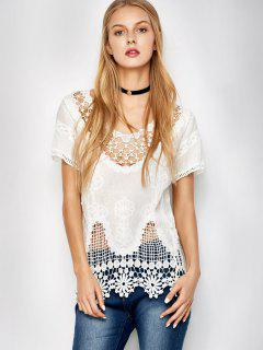 Caged Scalloped Crocheted Lace Cover Up - White