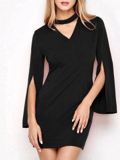 Bell Sleeve Choker Bodycon Prom Dress - Black S