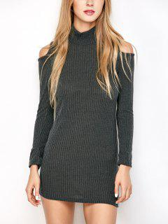 Slinky Ribbed Cold Shoulder Mini Dress - Deep Gray M