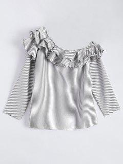 Stripes One Shoulder Ruffles Blouse - White And Black M