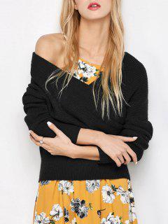 Crossover Off The Shoulder Sweater - Black