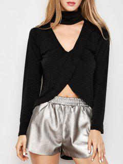 Long Sleeves High Low Choker Tee - Black L