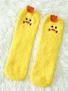 Cartoon Yellow Chicks Coral Fleece Socks - Yellow