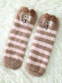 Cartoon Teeth Rat Coral Fleece Socks - Dark Khaki