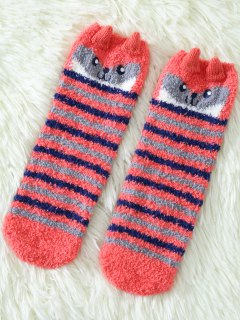 Cartoon Owl Coral Fleece Socks - Red
