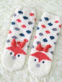 Cartoon Little Fox Coral Fleece Socks - White