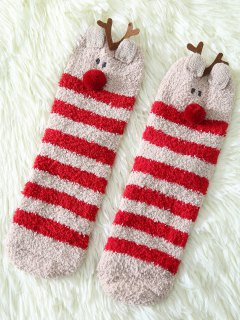 Cartoon Deer Coral Fleece Socks - Red