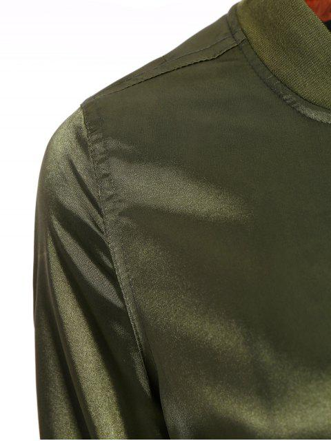 women's Satin Bomber Zippered Jacket - ARMY GREEN M Mobile