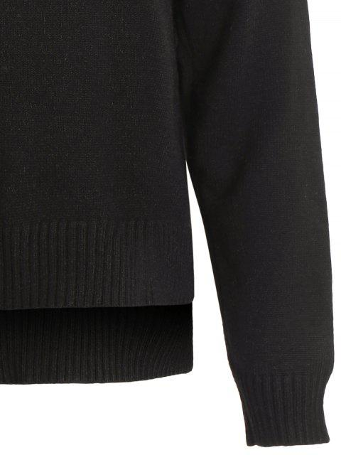 fancy Slit Embroidered High-Low Sweater - BLACK ONE SIZE Mobile