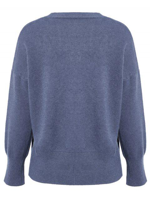 best V Neck Long Sleeve Pullover Knitwear - BLUE ONE SIZE Mobile