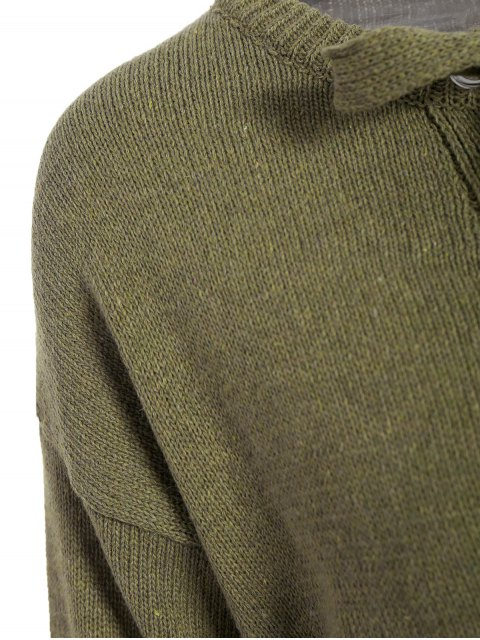 ladies Leisure Lace-Up Sweater - ARMY GREEN ONE SIZE Mobile