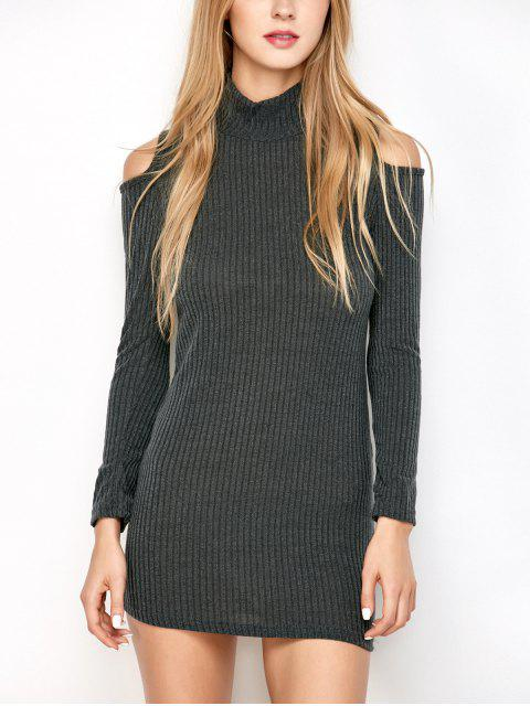 latest Slinky Ribbed Cold Shoulder Mini Dress - DEEP GRAY M Mobile
