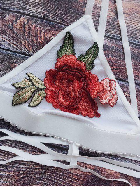buy Rose Embroidered Lattice Longline Bra - WHITE M Mobile