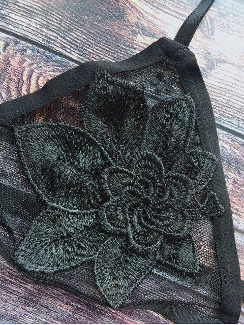 shop Floral Applique Mesh Bra - BLACK M Mobile