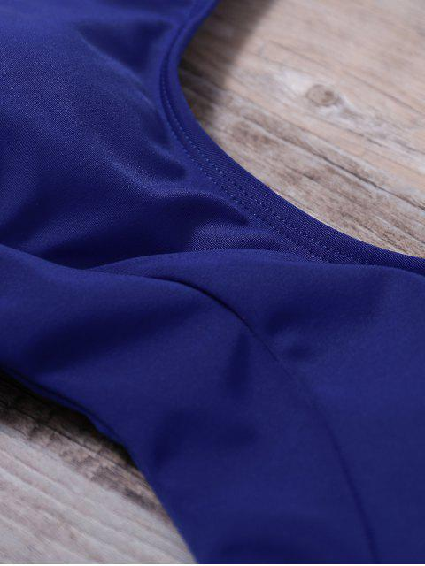 best Scoop Neck High Cut One-Piece Swimwear - BLUE M Mobile