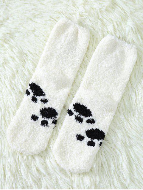 shops Cartoon Cat Coral Fleece Socks - WHITE  Mobile