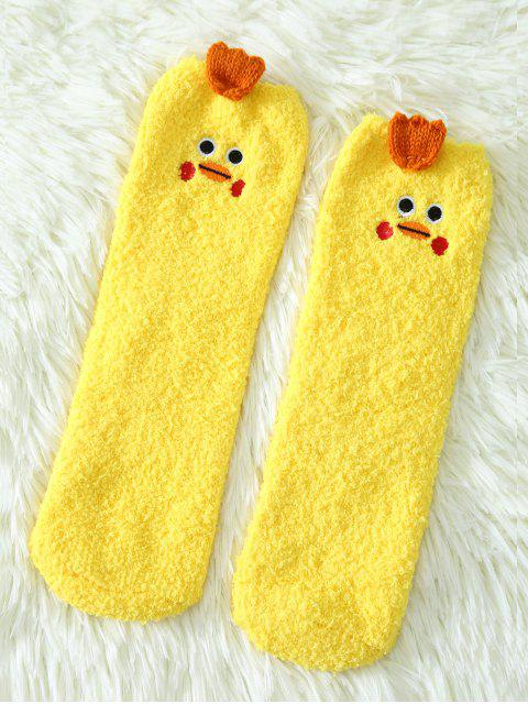 latest Cartoon Yellow Chicks Coral Fleece Socks - YELLOW  Mobile