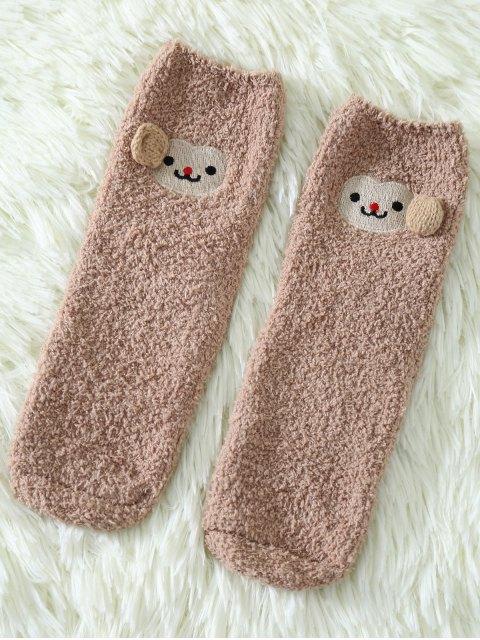 fancy Cartoon Monkey Coral Fleece Socks - KHAKI  Mobile