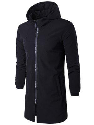 Hooded Rib Cuff Letter Zip Up Coat