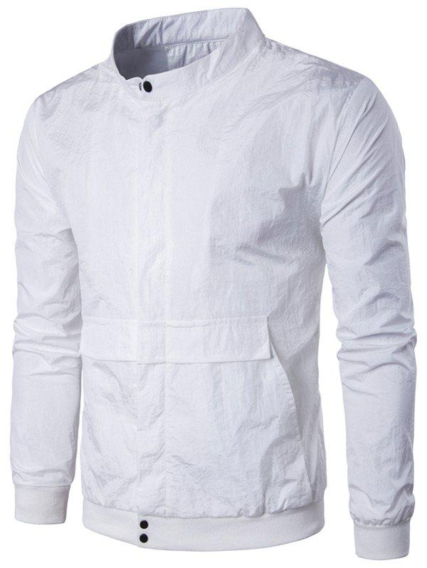 Pocket Rib Insert Stand Collar Jacket 208010122