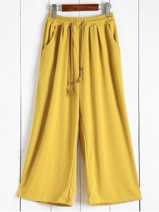 shop Elastic Waist Culotte Pants - GINGER 4XL