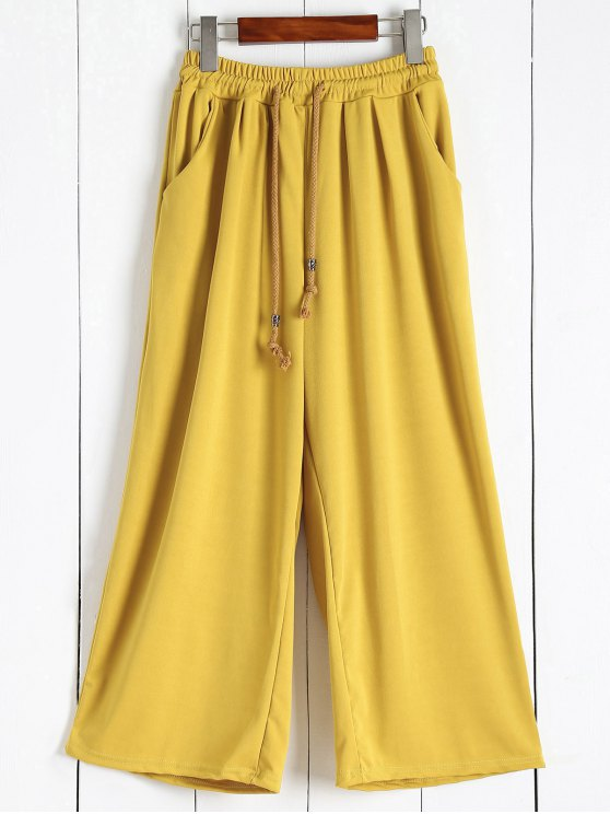 Calças elástico na cintura Culotte - Amarelo Gengibre 2XL