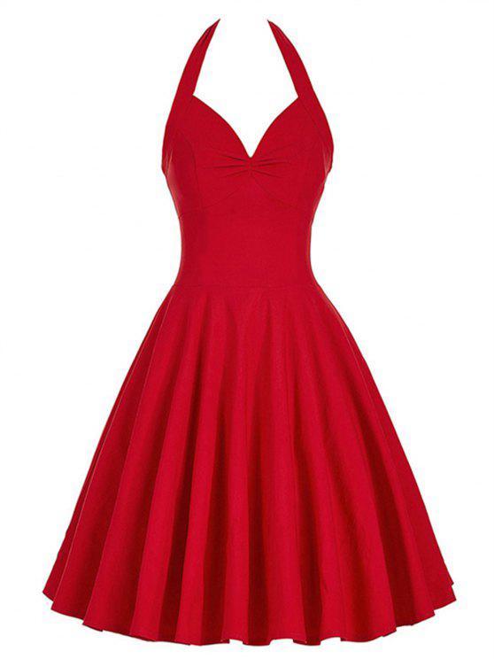 فستان مشد كلاسيكي رباط - أحمر L