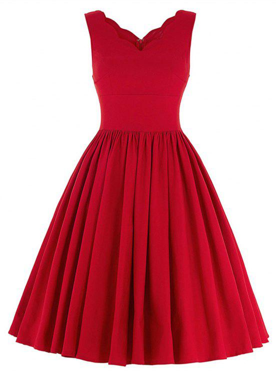 promo code 09501 93994 Scalloped A Line Swing Cocktailkleid RED BLACK