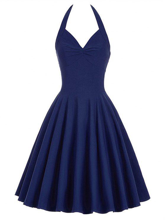 sale Lace-Up Halter Vintage Swing Corset Club Dress - PURPLISH BLUE S