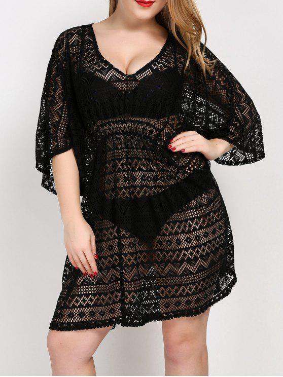 Übergröße Tunika Kleid Verdeckung mit V Hals - Schwarz Eine Größe